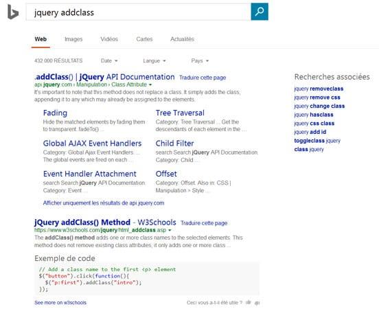 Bing propose du code HTML en rich snippets dans les SERP