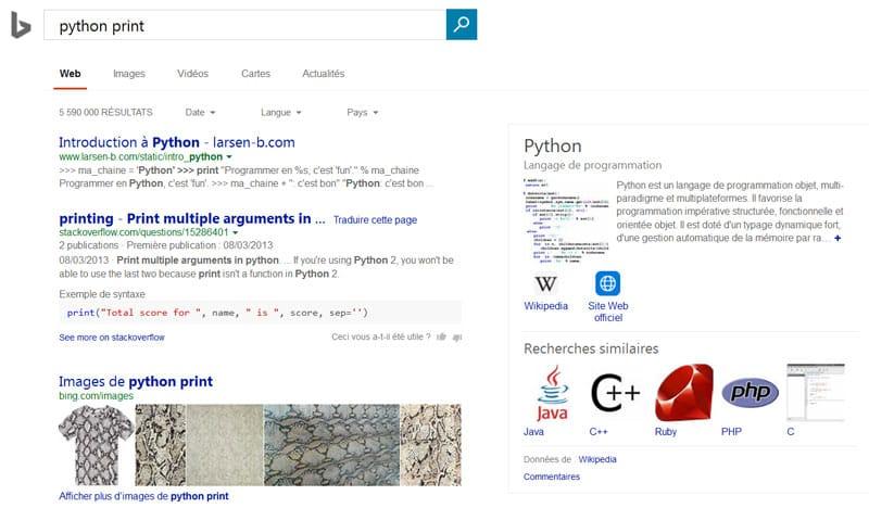 Bing propose des extraits de code en Python dans les SERP