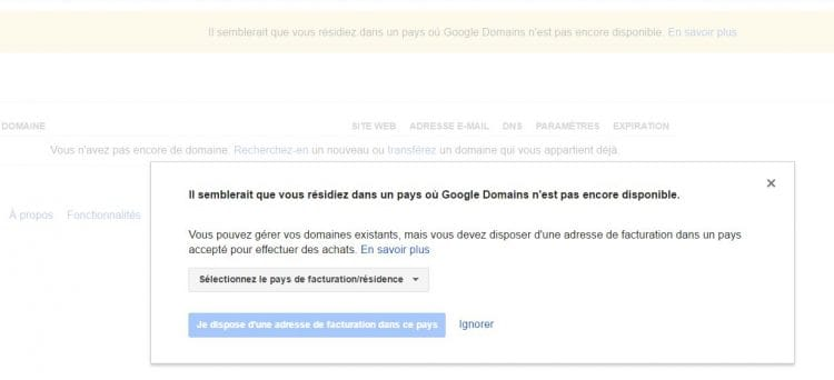 Google Domains inaccessible en France : message d'avertissement