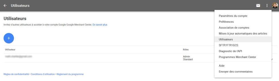 Google Merchant Center ajoute un workflow (ajout d'utilisateurs avec des rôles déterminés)