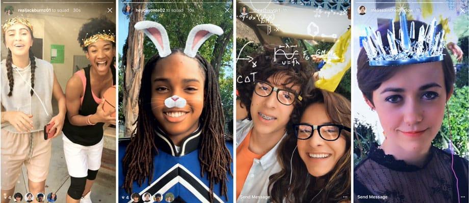 Instagram et Boomerang accueillent les Face Filters, des filtres de visage comme sur SnapChat