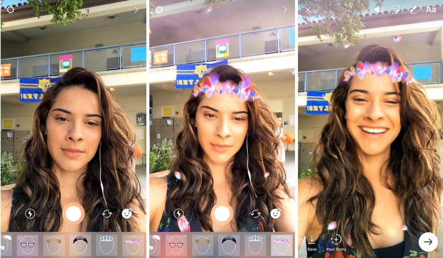 Instagram introduit les Face Filters (filtres de visage) avec stickers, déformation, etc.
