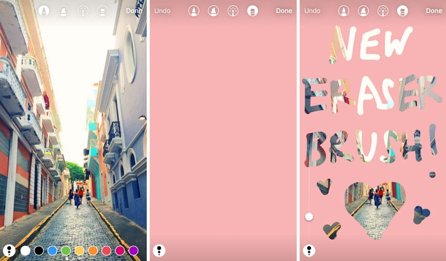 Instagram permet d'effacer des couleurs avec des brushes