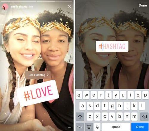 Instagram ajoute un sticker dédié aux hashtags sur le réseau social