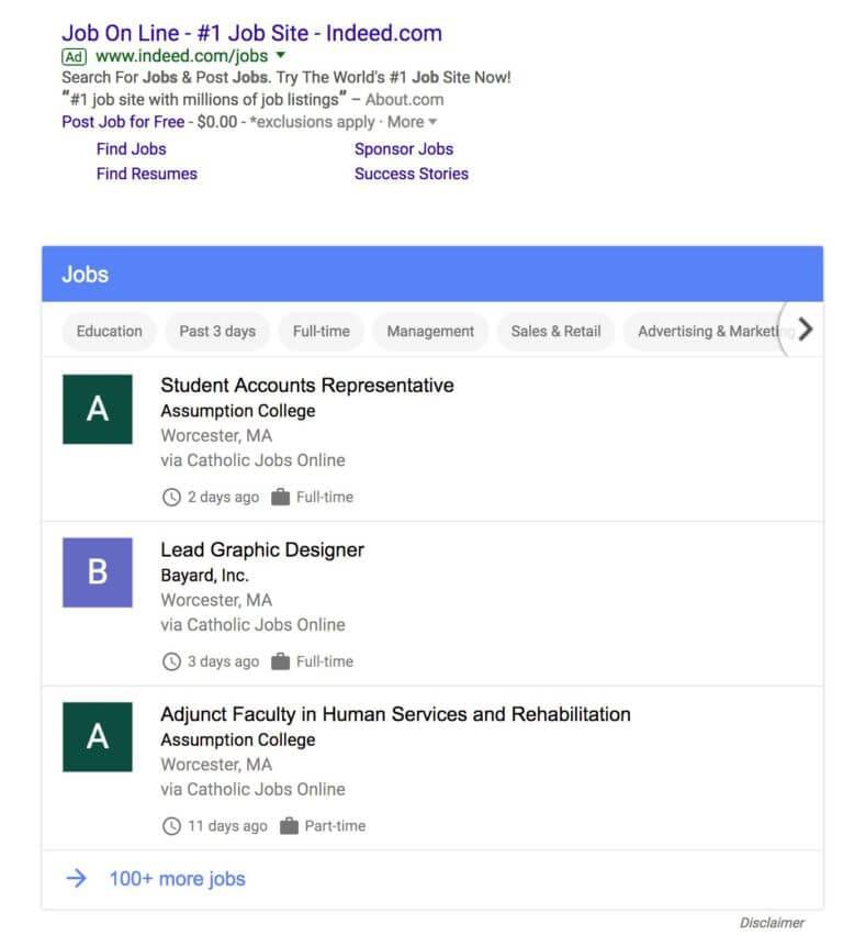 Test de Google for Jobs afin d'aider les utilisateurs à trouver un emploi