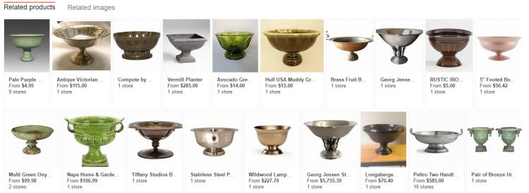 Résultats affichés par Bing Visual Search après reconnaissance de l'objet
