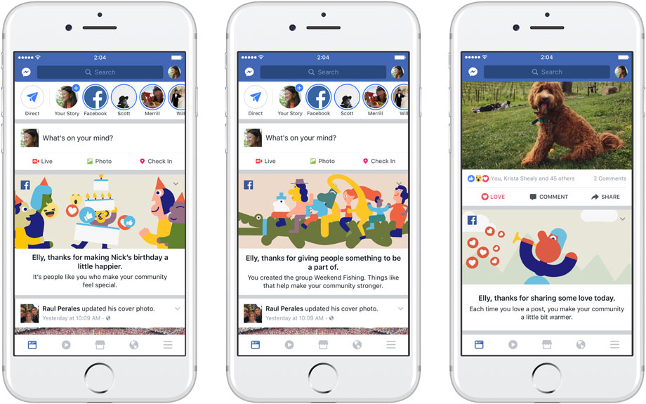 Facebook ajoute des messages de remerciements dans le News Feed (journal)