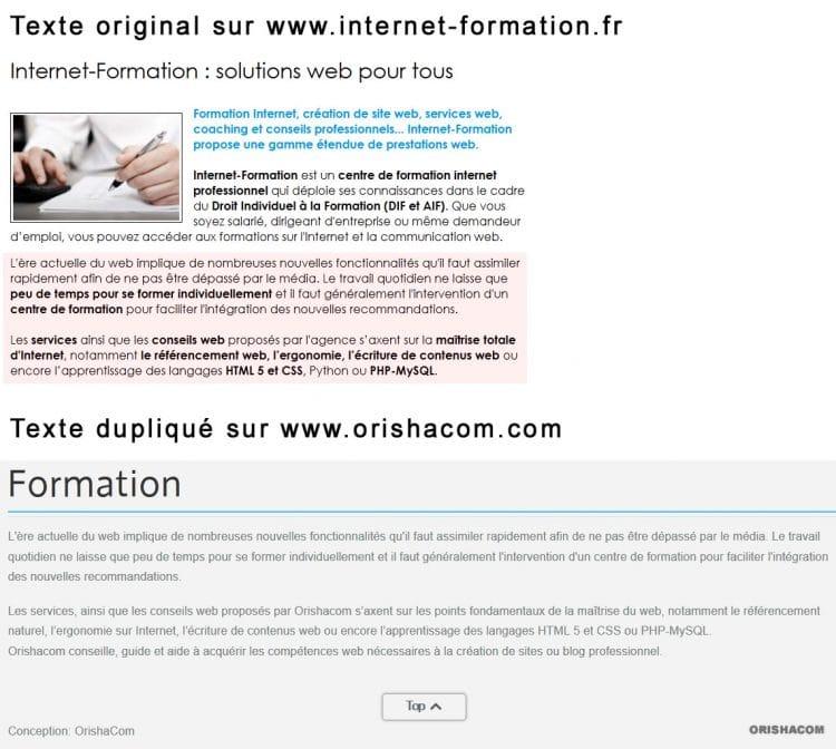 Exemple de contenus dupliqués d'Internet-Formation