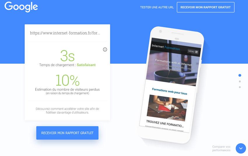Résultat d'un test avec l'outil Test My Site de Google pour les entreprises
