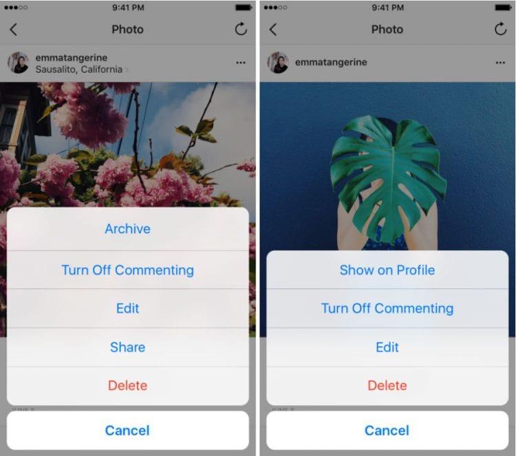 Instagram lance une option Archive pour archiver les messages, photos et vidéos du réseau social
