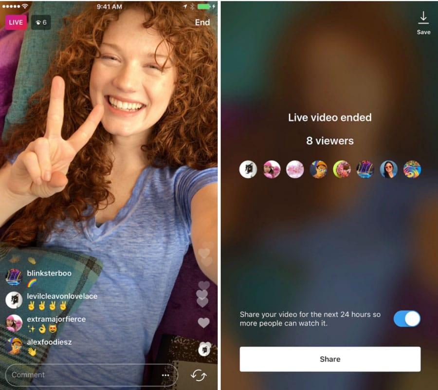 Instagram ajoute le partage des vidéos live dans les Stories