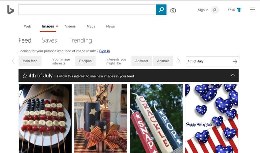 Proposition de flux vidéo ou photo pour le 4 juillet aux Etats-Unis sur Bing