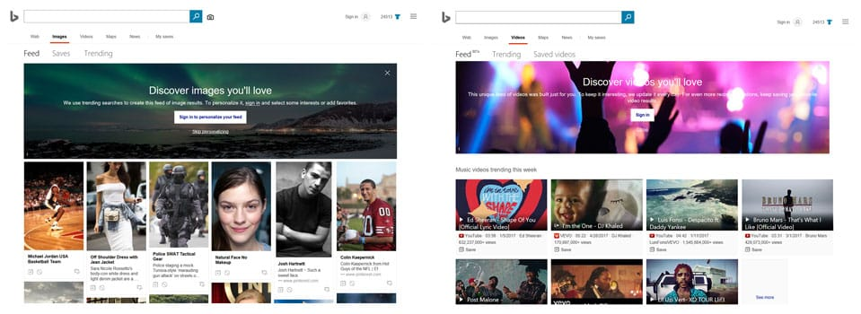 Inscription ou connexion à Bing pour profiter des flux vidéo et photo