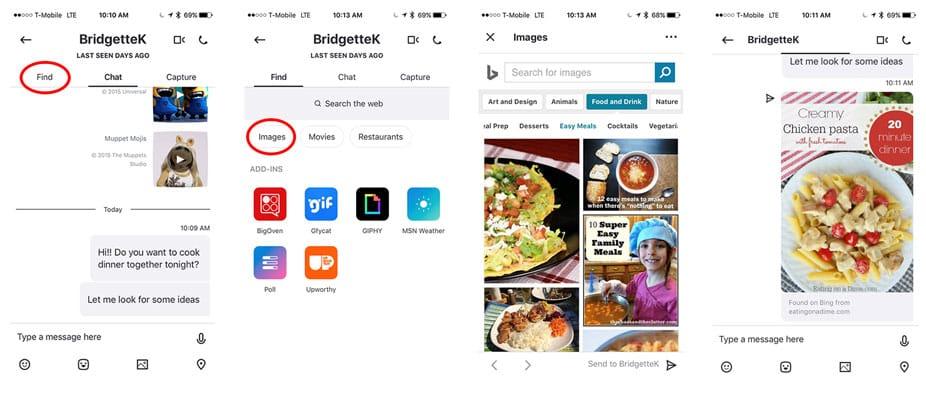 Suggestions et enregistrements des images et vidéos de Bing directement dans Skype