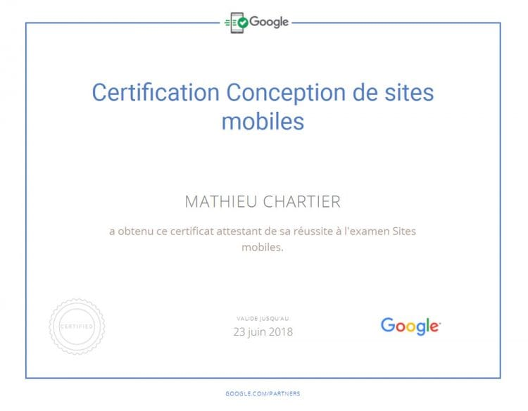 Résultats de l'examen de la certification Google Sites Mobiles