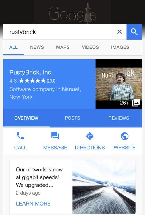 """Apparition du bouton """"message"""" de Google My Business"""