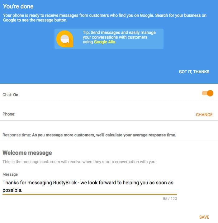 Paramétrage de la réponse automatique dans la messagerie de Google My Business