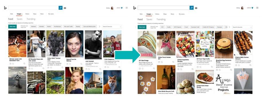 Exemple d'évolution des flux vidéo et photo sur Bing