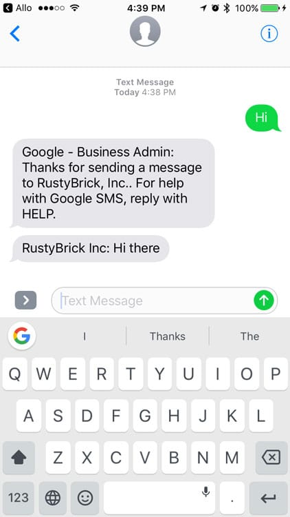 Réponse automatique dans la messagerie de Google My Business
