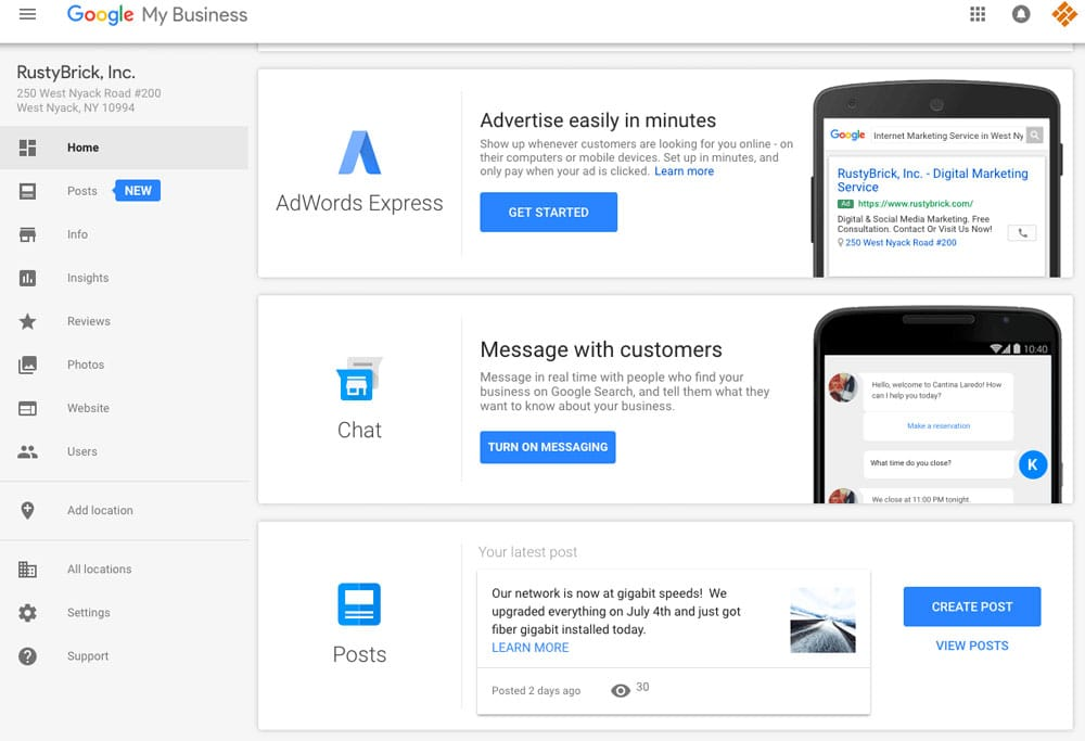 Nouvelle Messagerie dans Google My Business