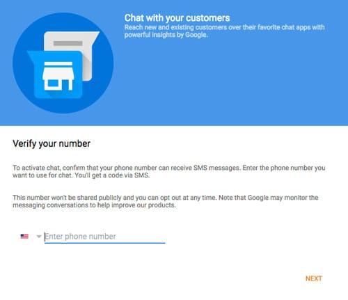 Numéro pour SMS ou Google Allo dans Google My Business