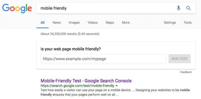 Google ajoute une onebox de test des sites mobiles dans les SERP
