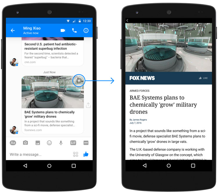Facebook supprime les Instant Articles de Facebook Messenger
