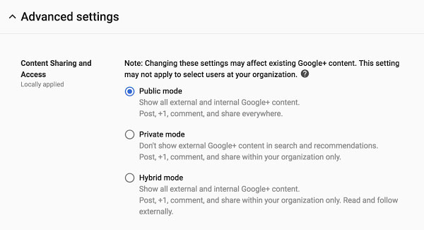 Ajouter des restrictions à Google+ pour les administrateurs de Google Suite