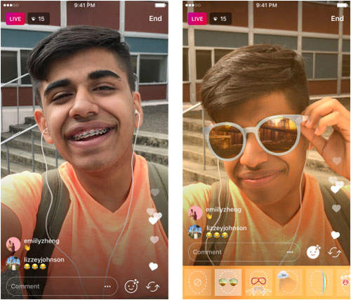 Utiliser les Face Filters dans les directs d'Instagram Live