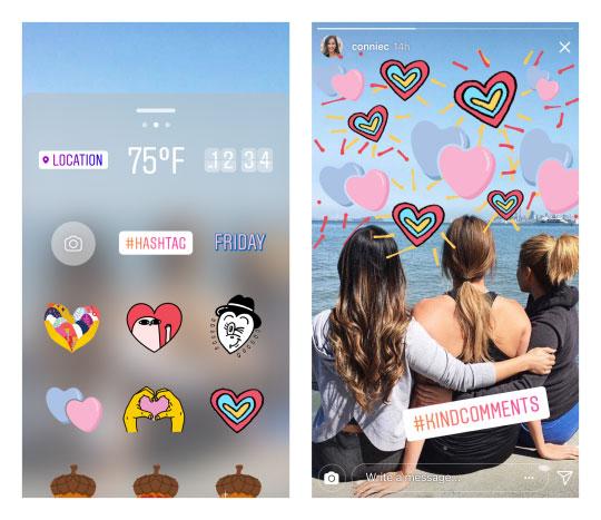 De nouveaux stickers kindcomments pour Instagram sur mobile
