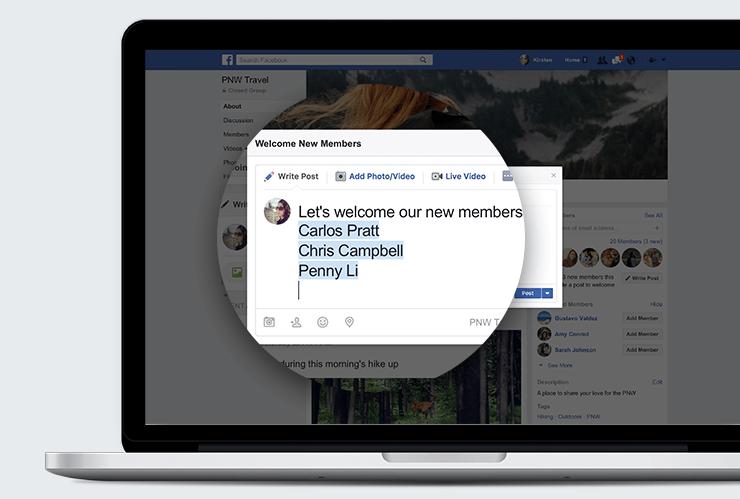 Post d'accueil pour les nouveaux membres d'un groupe Facebook