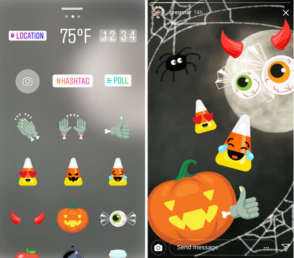 De nouveaux stickers éphémères sur Instagram pour Halloween