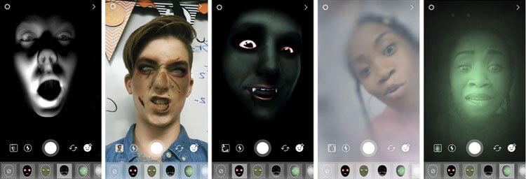 Instagram ajoute des Face Filters dédiés à Halloween et éphémères