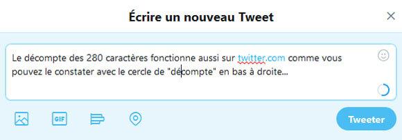 Tweet de 280 caractères sur twitter.com (desktop)