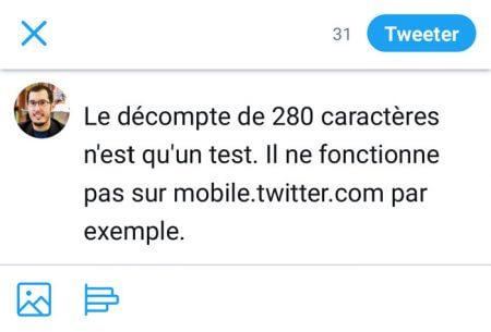 Pas de tweet de 280 caractères sur mobile.twitter.com (Twitter Lite)
