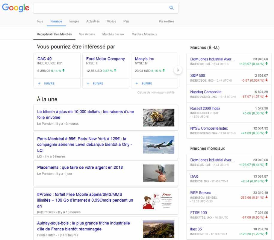 Evolution du marché boursier avec l'onglet Finance de Google