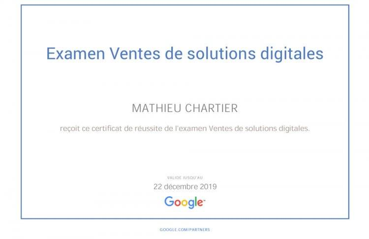 Examen de la certification Ventes de solutions digitales de Google