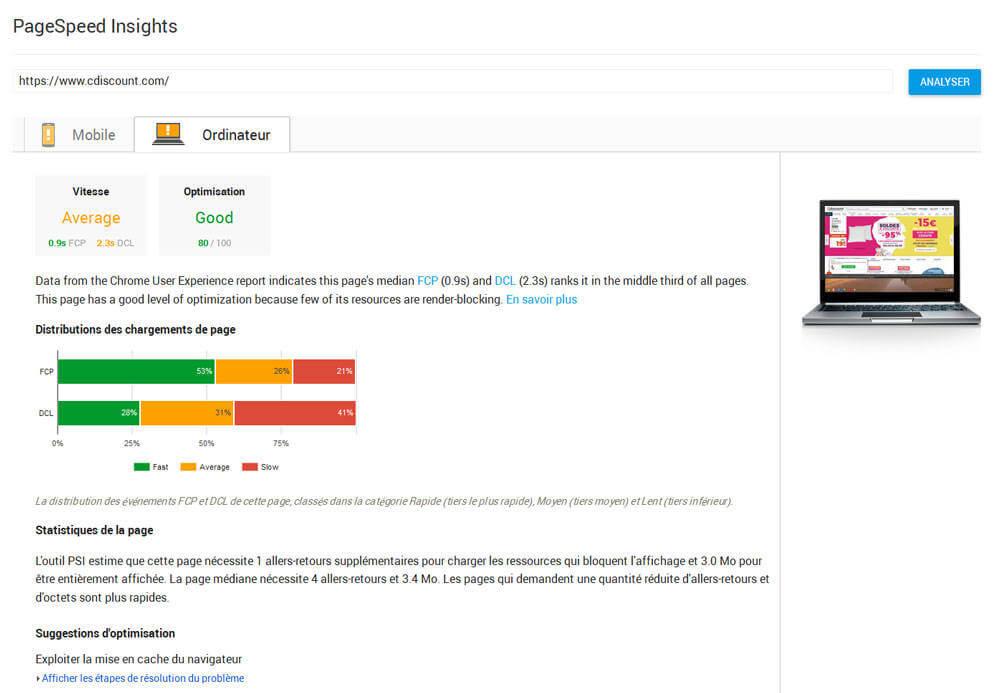 Test de discount avec le nouveau rapport PageSpeed Insights sur la vitesse de chargement des pages.