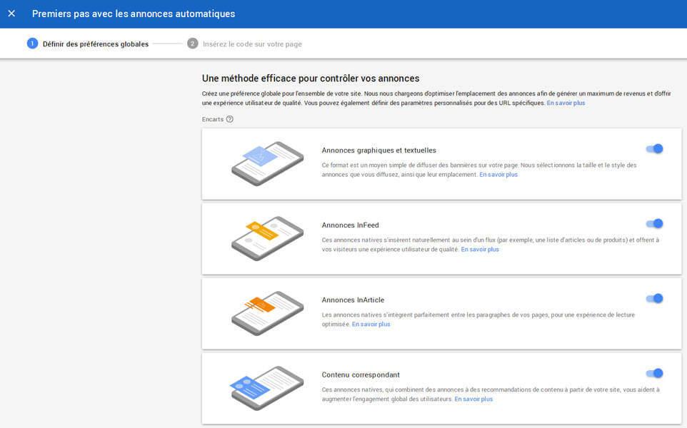 Choix de formats de publicité dans Google Adsense pour les Auto Ads (annonces automatiques)