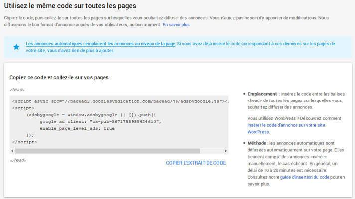 Code des annonces automatiques (Auto Ads) de Google Adsense