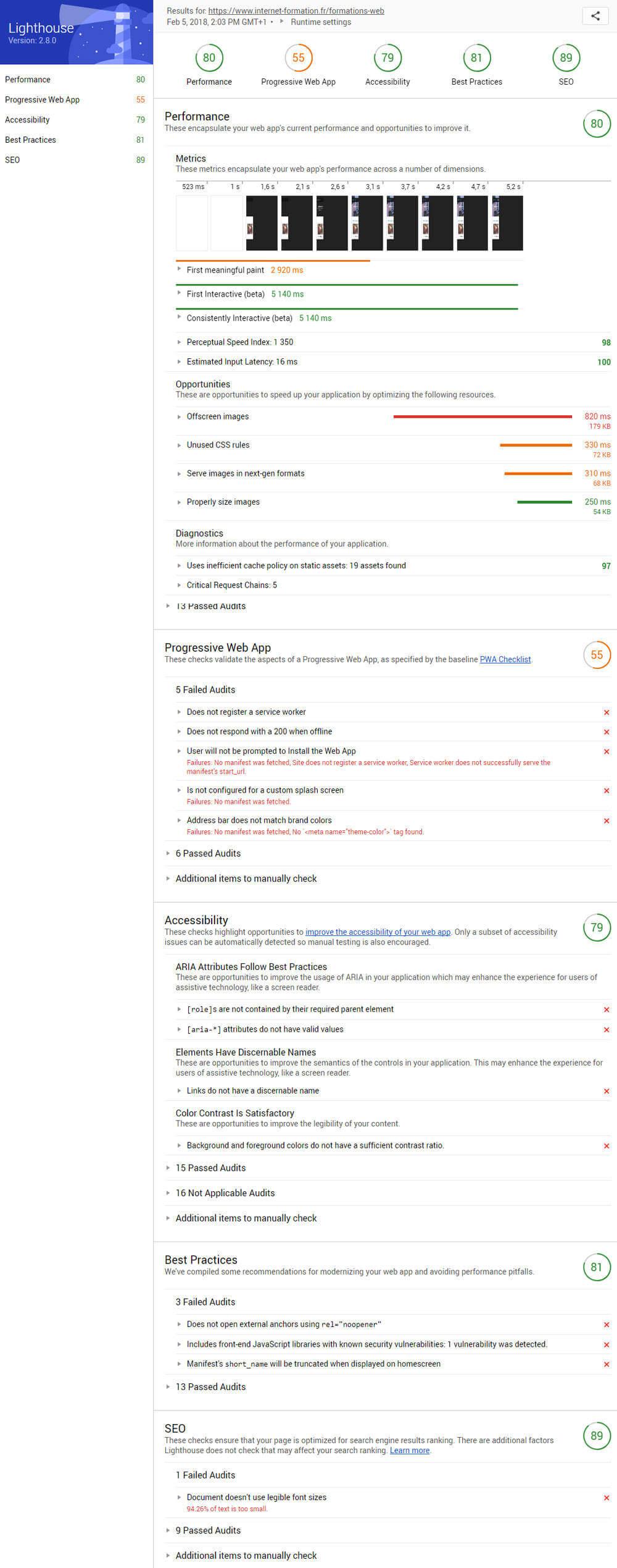 Audit SEO gratuit dans Google Chrome avec Lighthouse