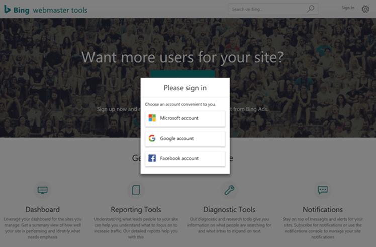 Nouveaux modes de connexion aux Bing Webmaster Tools (compte Google, Facebook ou Outlook)