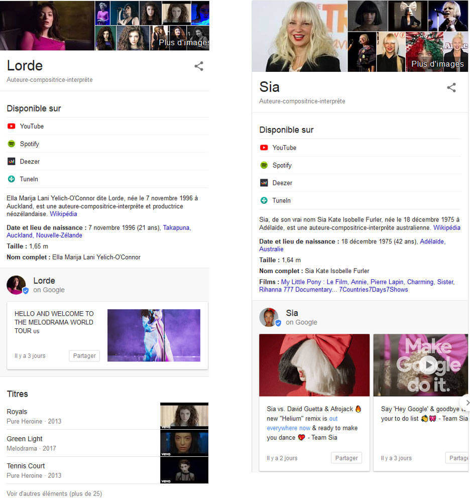 Affichage des posts de musiciens dans le Knowledge Graph de Google avec Posts on Google