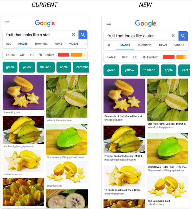 Légende sous les images dans Google Images