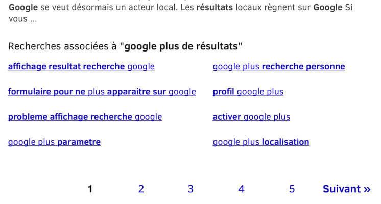 """Pagination classique dans Google mobile sur Firefox, pas de """"plus de résultats"""""""