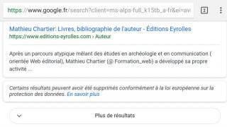 """Exemple du bouton """"plus de résultats"""" dans Google mobile (SERP)"""