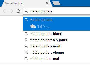 Prédictions de recherche dans le navigateur Google Chrome