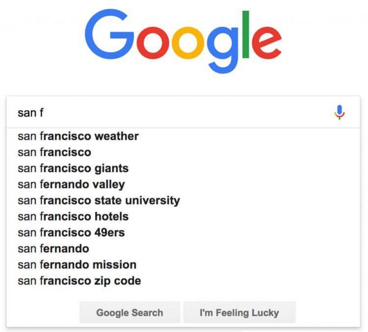 Google et l'autocomplétion dans la recherche