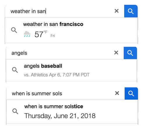 Autres types de prédictions dans Google