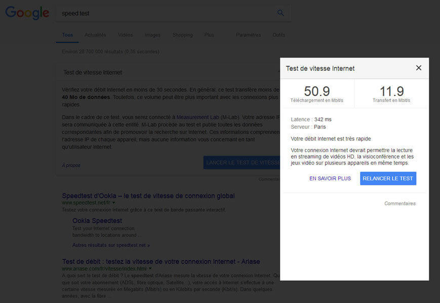 Test de vitesse de connexion (débit Internet) sur Google